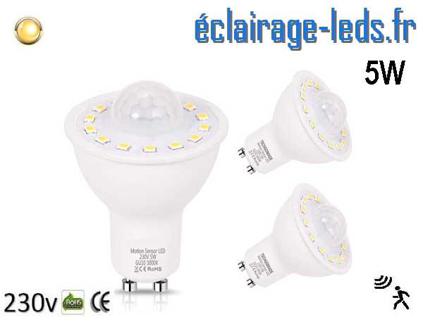 Lot d'ampoules LED GU10 5W Capteur de Présence blanc chaud 230v