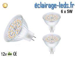 Lot de 3 ampoules LED MR16 5W blanc chaud 12v