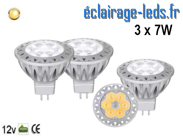 3 ampoules led MR16 7*1w blanc chaud 38° 12v