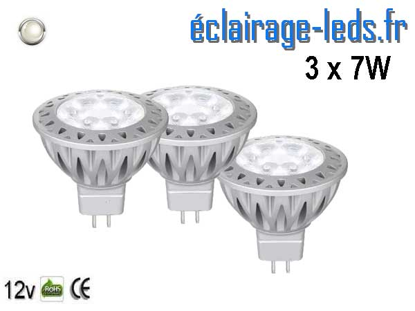 3 ampoules led MR16 7*1w blanc froid 38° 12v