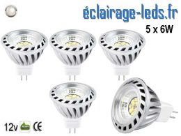 5 ampoules led MR16 6w blanc naturel 45° 12v