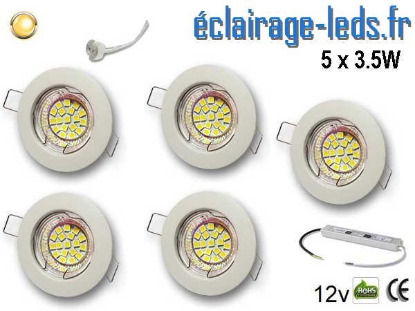 5 Spots MR16 fixe blanc 18 LED blanc chaud 12V