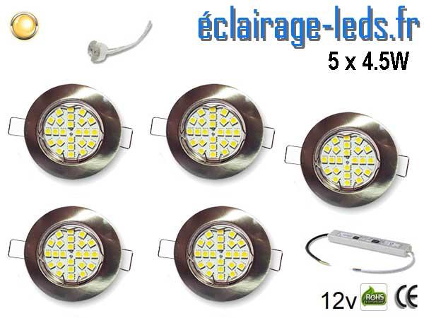 Lot de 5 Spots MR16 fixe blanc 21 LED blanc chaud 12V