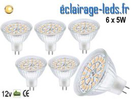 6 ampoules LED MR16 5W blanc chaud 12v DC