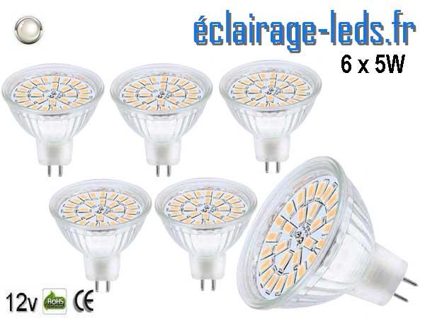 Lot de 6 ampoules LED MR16 5W blanc froid 12v