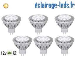 6 ampoules led MR16 7*1w 560LM blanc chaud 3000K 12v DC