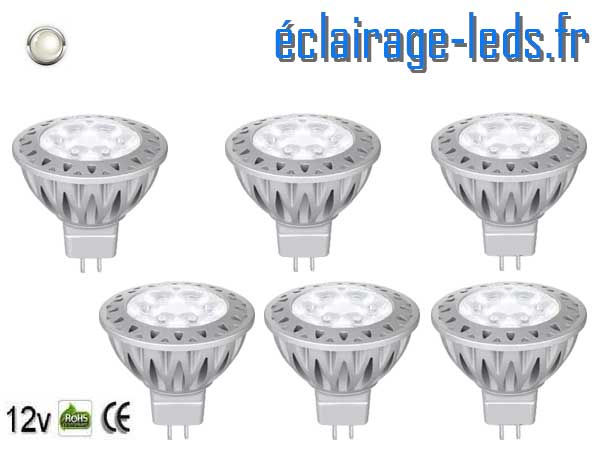 Lot de 6 ampoules led MR16 7*1w 560LM blanc froid 12v