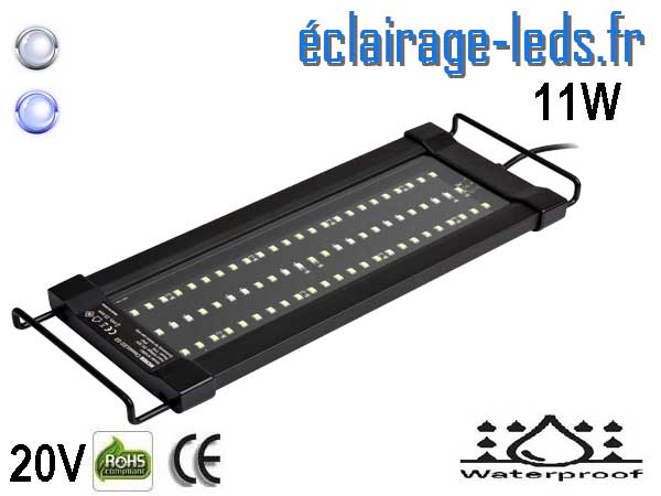 Rampe LED 11W Aquarium Blanc et bleu 30-43cm 20V