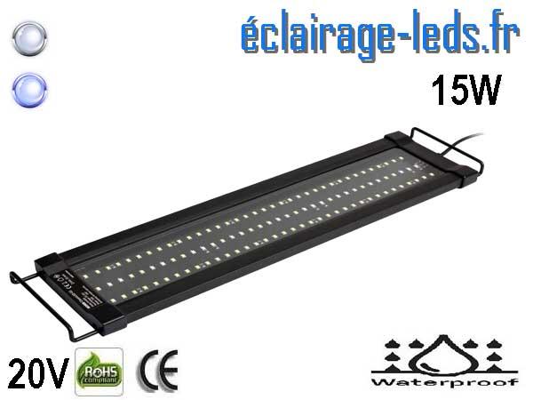 Rampe LED 15W Aquarium Blanc et bleu 45-60cm 20V