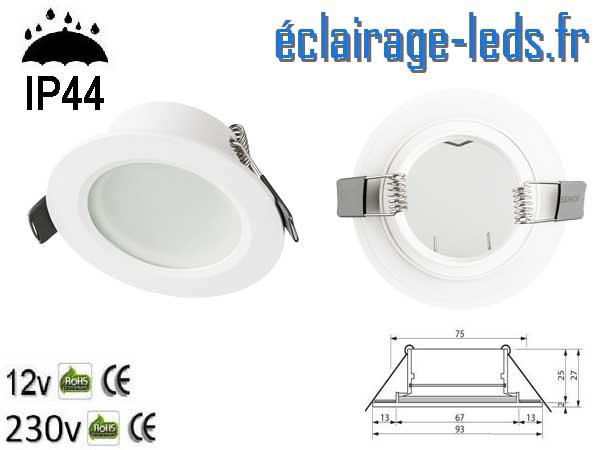 Spot LED encastrable IP44 blanc