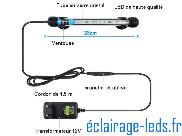 Tube LED 3W Submersible Blanc 28cm Aquarium