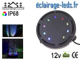 Bulleur Aquarium 9 LED Submersible RGB 10cm 12V