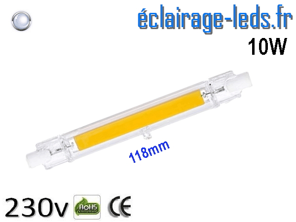 Ampoule LED R7S COB 10W blanc froid 118mm 230v