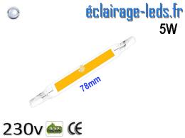 Ampoule LED R7S COB 5W blanc froid 78mm 230v