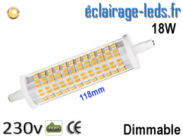 Ampoule LED R7S dimmable 18w 118mm blanc chaud 230V