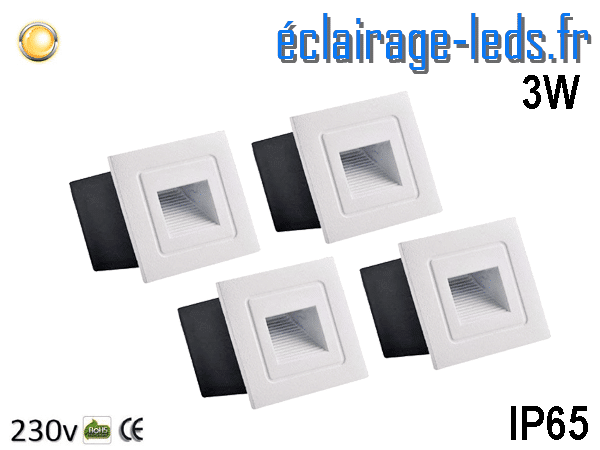 4 Supports encastrable Sol & Mur 3W blanc chaud IP65 230v