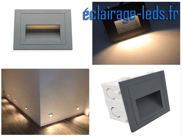 4 Supports gris encastrable sol & mur 3W blanc chaud