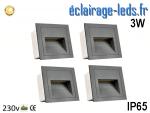 Support gris encastrable sol & mur 3W blanc chaud IP65 230v