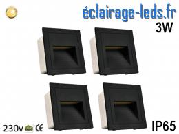 Supports Noir encastrable Sol & Mur 3W blanc chaud IP65 230v