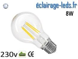 Ampoule led E27 8w COB Filament blanc froid 6500K 230v