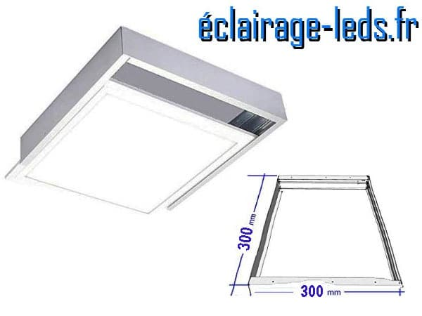 Cadre dalle LED 300x300 mm en saillie blanc