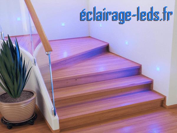 kit support LED Blanc Sol et Mur blanc bleu