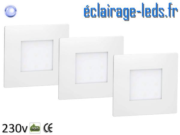 kit support LED Blanc Sol et Mur bleu 1W 230v