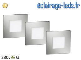 kit support LED chrome Sol et Mur blanc chaud 1W 230v