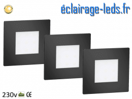 kit support LED Noir Sol et Mur blanc chaud 1W 230v