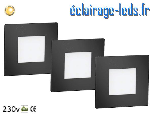 kit support LED Noir Sol et Mur blanc chaud 1W 230v