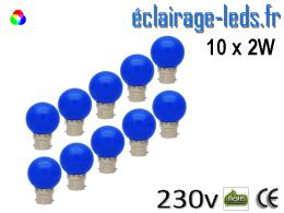 10 ampoules LED B22 2w bleu dépolie 230v