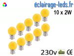 lot de 10 ampoules LED B22 2w jaune dépolie 230v