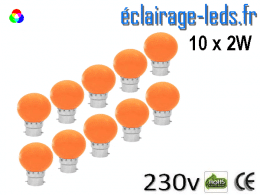 10 ampoules LED B22 2w orange dépolie 230v