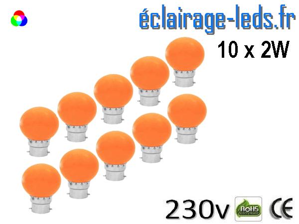 10 ampoules LED B22 2w orange dépolie 230v