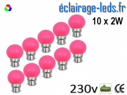 10 ampoules LED B22 2w rose dépolie 230v
