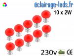 10 ampoules LED B22 2w rouge dépolie 230v