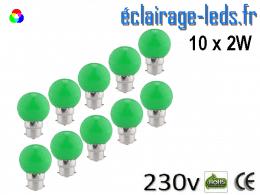10 ampoules LED B22 2w vert dépolie 230v