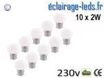 lot de 10 ampoules LED B22 2w blanc dépolie 230v