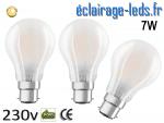 Lot de 3 ampoules led B22 7w COB dépolie blanc chaud