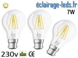 3 ampoules led B22 7w COB Filament blanc chaud 230v
