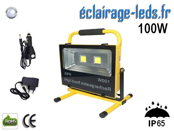 Projecteur LED 100w autonome blanc IP65