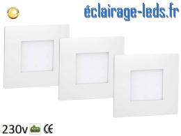 lot de 3 Supports LED Blanc Sol et Mur blanc chaud 1W 230v
