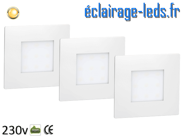 lot de 3 Supports LED Blanc Sol et Mur blanc chaud 1W 230v