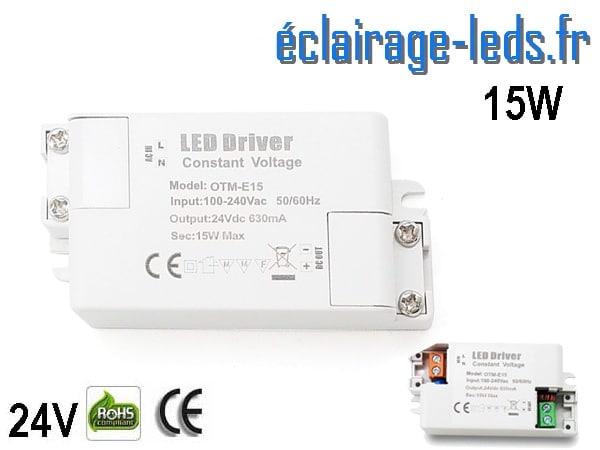 Transformateur LED Pour Intégration 24V DC 15w IP44