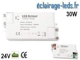 Transformateur LED Pour Intégration 24V DC 30w IP44