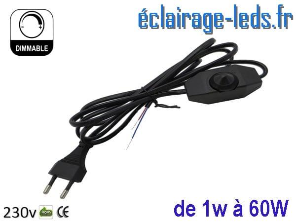 Variateur LED sur prise 1w-60w 2 mètres sur fil dénudé