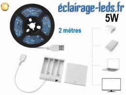 Bandeau LED 2M blanc chaud IP65 USB avec alimentation batterie