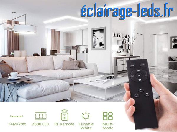 Bandeau LED dimmable 24M blanc chaud, blanc naturel, blanc froid piloté par RF