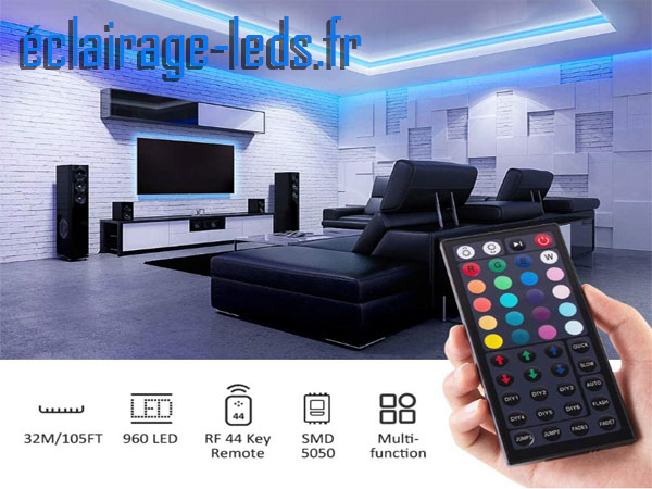 Bandeau LED RGB 32m (2x16m) IP20 éclairage piloté par signal RF