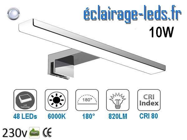 Lampe LED miroir Salle de bain 10W blanc froid 40cm